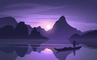 Sunset Landscape At Lake With Fisherman vector