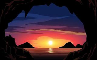 Beach Sunset View With Rock vector