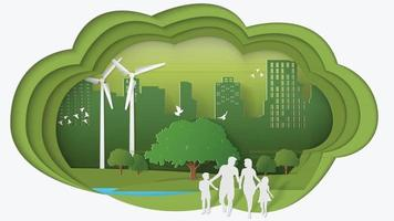 Paper art style vector illustration Green energy concept dimension