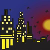 City background at dusk, downtown many mall and apartment vector