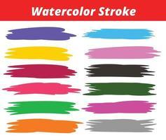 Watercolor stroke set design vector