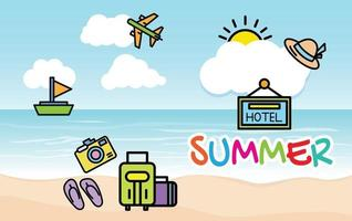 vacaciones de verano y fondo de paisaje marino de playa vector
