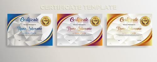 Premium diploma modern certificate template vector