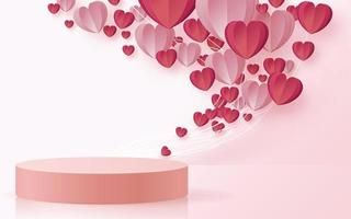 3d podium for valentine day vector