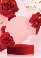 3d podium red rose background. vector
