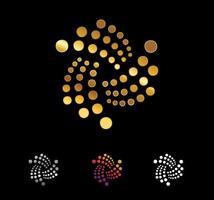 Golden circle and spiral dots vector sign