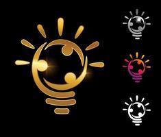 Golden bulb people logo vector sign