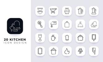 Line art incomplete kitchen icon pack. vector