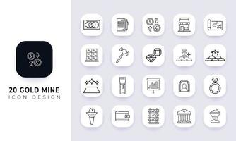 Line art incomplete gold mine icon pack. vector