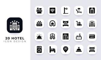 paquete de iconos de hotel plano mínimo. vector