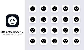 Minimal flat emoticons icon pack. vector