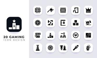 Minimal flat gaming icon pack. vector