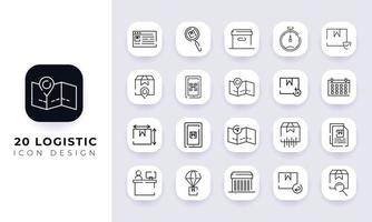 Line art incomplete logistic icon pack. vector