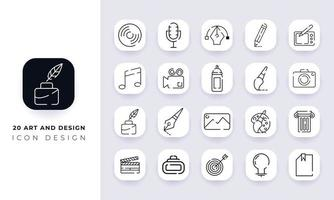 Line art incomplete art and design icon pack. vector