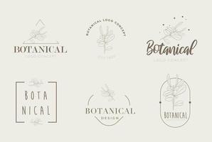 Hand drawn floral botanical miniaml retro style logo pack vector