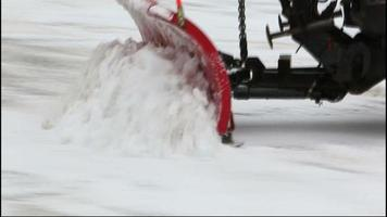 Close upl from snow ploving after winter storm video