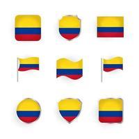 conjunto de iconos de la bandera de colombia vector