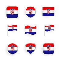 Croatia Flag Icons Set vector