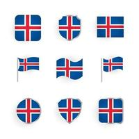 Iceland Flag Icons Set vector