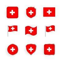 Switzerland Flag Icons Set vector