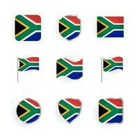 Conjunto de iconos de bandera de Sudáfrica vector