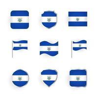El Salvador Flag Icons Set vector