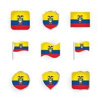 conjunto de iconos de bandera de ecuador vector