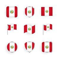 conjunto de iconos de bandera de perú vector