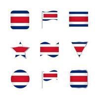 conjunto de iconos de bandera de costa rica vector