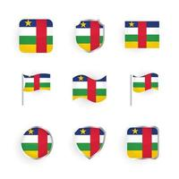 Central African Republic Flag Icons Set vector