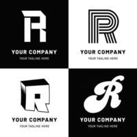 Black and White Letter R Logo Set vector