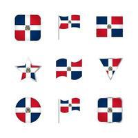 Dominican Republic Flag Icons Set vector