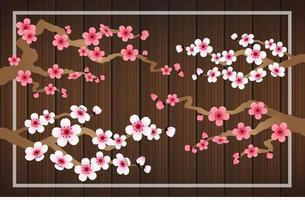 sakura falling petals vector on wood banner background.
