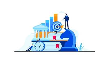 business management strategy with mini people worker vector