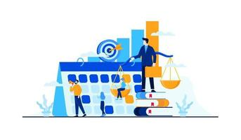 business management strategy with mini people worker businessman vector
