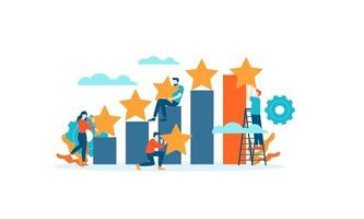 Achievement bar chart Star Review rating people give vector