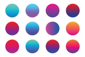 Vibrant colorful gradients swatches set vector