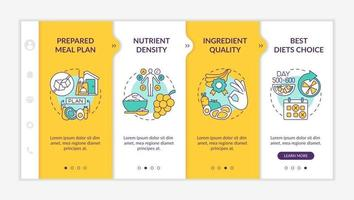 Meal delivery for diabetics onboarding vector template