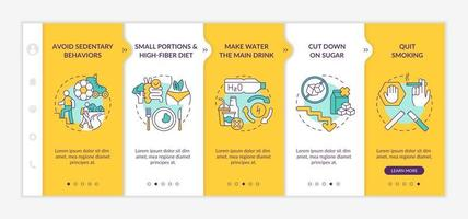 Diabetes prevention tips onboarding vector template
