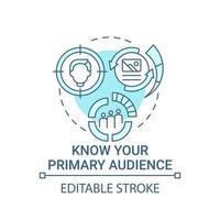 Conozca su icono de concepto de audiencia principal vector