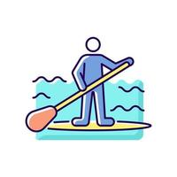 Paddle board surfing RGB color icon vector