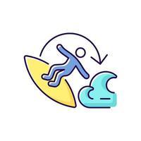Carve surfing maneuver RGB color icon vector