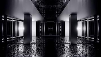 3d illustration of 4K UHD dark tunnel with neon illumination photo