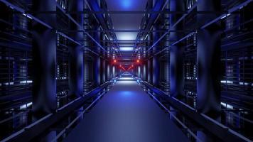 Dark blue corridor 4K UHD 3D illustration photo