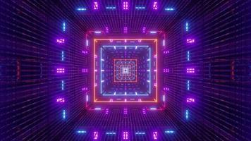 4K UHD 3D illustration of square tunnel with symmetric neon illumination photo