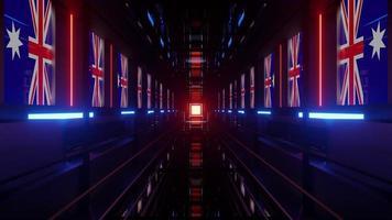 4k uhd túnel con banderas australianas ilustración 3d foto