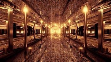 Ilustración 3d del túnel de ciencia ficción brillante 4k uhd foto