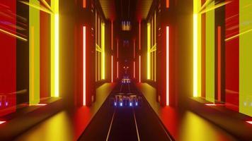 3d illustration of bright geometric tunnel photo