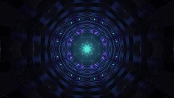Round shaped tunnel with neon lights 4K UHD 3d illustration photo