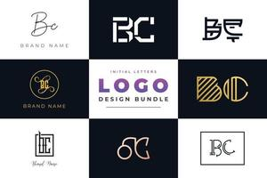 Set of collection Initial Letters BC Logo Design. vector